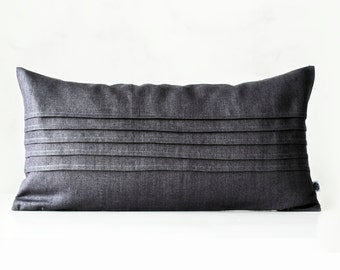Lumbar pillow with decorative sewn lines - grey decorative covers - pillow case - throw pillows - shams - cushion cover custom size   0316