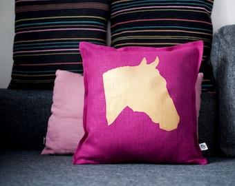 Horse head pillow cover - purple pillow - gold print - gold horse print on pillow - linen cushion cover - throw pillow - 0323