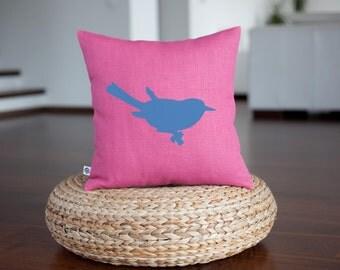 Decorative pillow cover - fuscia pink pillow with bird print - bird cushion - custom pillow with print - linen pillow - 0327