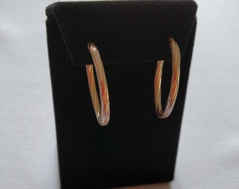 Twisted Textured Oval Hoop Earrings Sterling Silver
