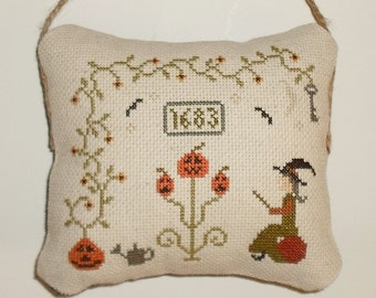 Finished Cross Stitch Primitive Pinkeep Tuck Halloween Decor Primitive Pincushion Pinkeep Hanging Pillow Ready to Ship