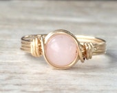 Rose Quartz Ring, 14k Gold Filled Ring, Wire Wrapped Ring, Stone Ring