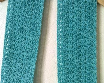 Crochet Lacy Scarf Aqua