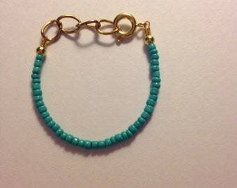 Turquoise stackable baby or toddler beaded bracelet