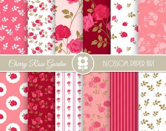 Pink Rose Digital Paper, Shabby Chic Digital Paper Pack, Cherry Roses, Wedding, Scrapbooking, Roses - INSTANT DOWNLOAD  - 2000