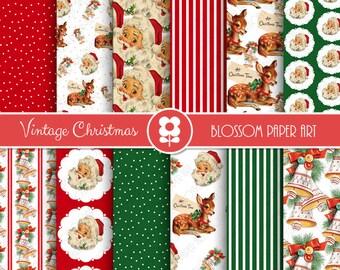 Vintage Christmas Digital Paper, Christmas Digital Paper Pack, Vintage Christmas Scrapbooking - INSTANT DOWNLOAD  - 2002