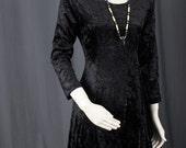 Black velvet dress crushed velvet dress cross ties Bohemian boho goth women size S or M small medium