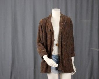 Brown jacket Duster Coat kimono jacket Blazer tweed slouchy Bohemian Gypsy size M or L medium or large