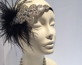 Jazz Age Lawn Party 2016- Black 20s Feather Head Wrap-Gatsby Style- Flapper-1920s Hair Accessory- Handmade-Headpiece-Headdress NY-Speakeasy-