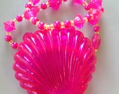 Harajuku Mermaid- Neon Shell Stretch Necklace with Plastic Gems, Pink Faux Pearls and Tiny Green Beads