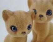 Josef Original Flocked 2 Vintage Fuzzy Animals Momma and Baby Kitties Kitty Cat Kitten Fluffy Siamese tabby ginger