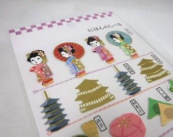 Kawaii Japan Textured Washi Paper Sticker Sheet: Kamio Japan Sticker Series KYOTO Maiko Geisha Torii Golden Temple Maccha Green Tea R