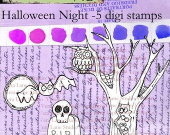 SALE SALE   SALE!  Reduced this week   Halloween Night - 5 spooky Halloween digi stamps available for instant download