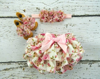 Baby Barefoot Sandals Bloomers and Headband Set / Ruffle Bloomers / Barefoot Sandals / Diaper Cover Headband / Headband Barefoot Sandals Set