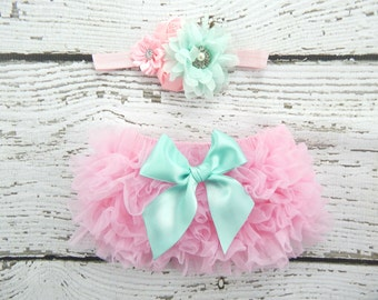 Newborn Pink Ruffle Bloomers and Headband Set / Pink Aqua Ruffle Baby Bloomer / Ruffle Diaper Cover / Newborn Photo Prop / Newborn Headband
