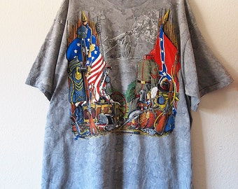 Vintage 90s CIVIL WAR Shirt Unisex XL Union Confederate Flag Reenactment Soldier 1990s Tie Dye Tshirt North South Patriot Usa