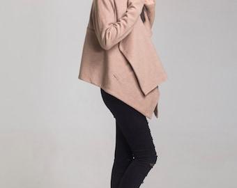 wool bat  jacket  puff sleeve coat beige coat wool jacket autumn coat autumn jacket mini jacket