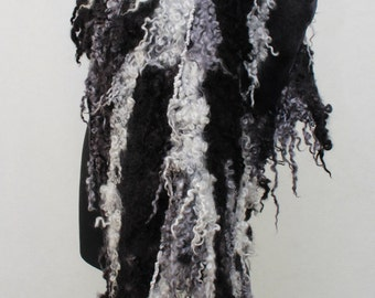 Winter Felted  Scarf Nuno Felted Scarf Shawl Wrap chunky texture White Black Silver