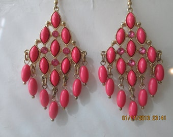 Gold Tone and Pink Chandelier Earrings with Pink Beads and Pink Rhinestone Dangles