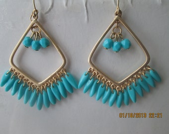 Gold Tone Chandelier Earrings with Turquoise Color Bead Dangles