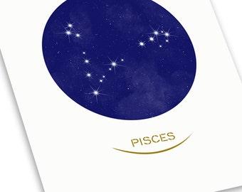 Pisces Minimal Style Zodiac Constellation Print