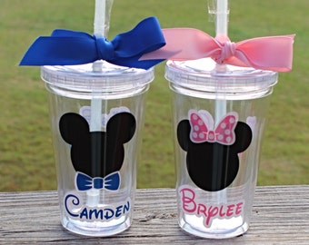 Mouse Themed Personalized Kids Tumbler, Wedding or Vacation gifts - Choose Girl or Boy - 12 oz.