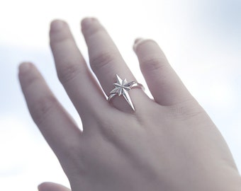 Sterling Silver Northern Star Ring, Star Ring
