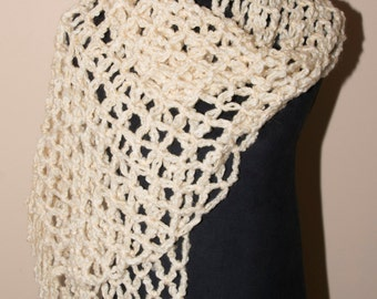 Cream Colored Open Weave Shawl With Fringe