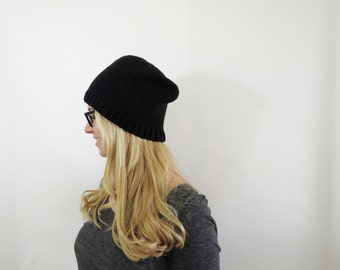 Merino Wool Womens Hat. Wool Slouchy Hat. Slouchy Womens Hat. Slouchy Beanie.  Crochet Hat. Knit Wool Hat Beanie. Black Hat. Winter Hat.