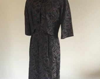 50s 60s Black Brown Abstract Brocade Dress w/ Bolero Set