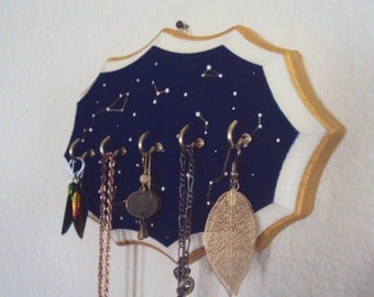 Constellation Jewelry Display - Starry Sky Necklace Holder - Decorative Jewelry Organizer - Star Map Wall Art Decoration - Wooden Wall Decor