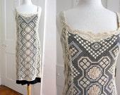 Vintage Boho Ivory White lace Dress - Alternative Wedding Dress - Tank - Sleeveless - Hippie - Handmade Lace - Beach Wedding