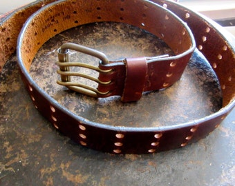 Leather Belt - Brown - 3 Prongs - Brass Buckle - 3 Holes - Size 34