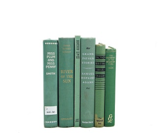 Green BOoks, Decorative Books, Rustic Antique Book Collection, Wedding Centerpiece, Old Book set, Shabby Chic Vintage Book Decor, Book stack