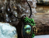 Succulent and Labradorite Gemstone Necklace . Crystal Garden Handcrafted Clay Pendant.