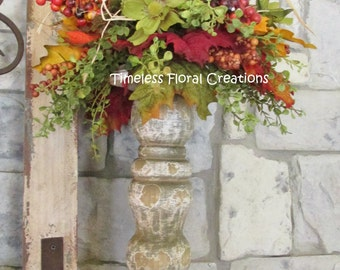 Candlestick Topper Arrangement for Fall Decorating