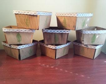 Vintage Berry Baskets, Woodland Design, Hand Decorated, Lace, Wedding Ceterpieces, Set of 8, Quart Size Planter