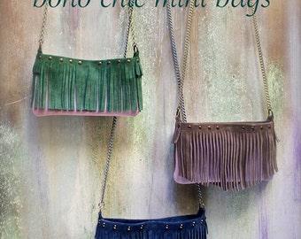 mini fringed bag, small leather crossbody, boho chic bags