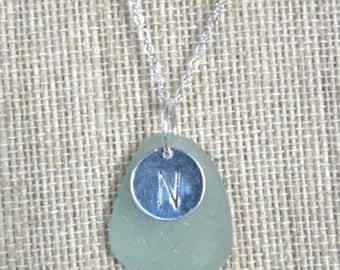 Personalized sea glass necklace, initial charm necklace, choice of colors