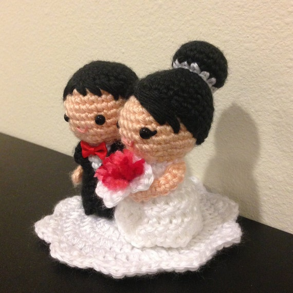 Amigurumi Chibi Doll Pattern Free : Amigurumi crochet wedding kokeshi couple doll pattern