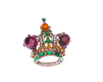 Vintage Trifari Crown Brooch Pin - Sterling Silver Alfred Philippe c.1940's