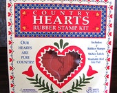 Rubber Stampede: Country Hearts ~ A Rubber Stamp Kit c. 1992 ~ 7 Heart Stamps