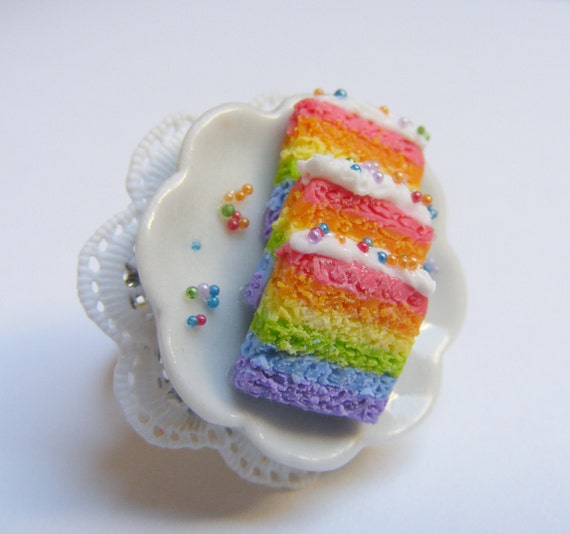 Food Jewelry Rainbow Cake Ring, Scented Jewelry, Polymer Clay food Miniature Food Ring Mini Food Jewellery Cake Jewelry Cake Charm Gay Pride