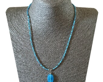 Light Sky Blue Necklace - Glass Seed Bead Necklace - Blue Glass Bead Necklace