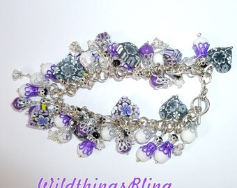 Purple and white bracelet