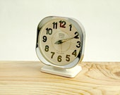 Vintage Retro Wind Up Clock with Chrome Surround