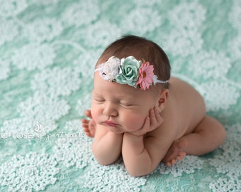 She's Mint to Shine - beautiful dainty flower headband in a mint, ivory, pink and silver with hints of glitter (RTS)