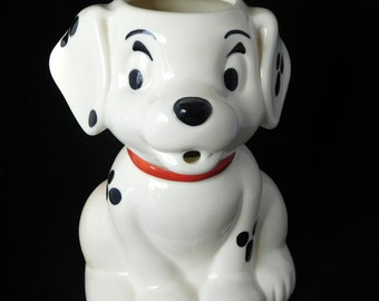 Walt Disney Pitcher 101 Dalmatians Dog,Treasure Craft Pottery, Water Pitcher