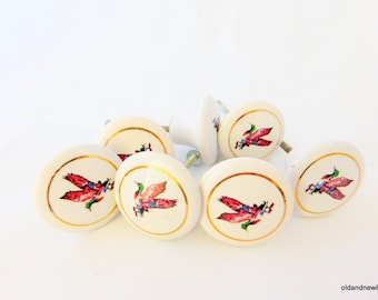 Knobs, Cabinet Pulls, Porcelain Cabinet Knobs, Birds