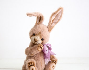 RESERVED for Rebecca - Teddy bunny Dorian + FREE shipping - Collectible Mohair Teddy Rabbit